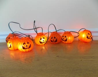 Vintage Halloween Pumpkin Lights, Halloween Lights, Jack O Lantern, String Lights, Pumpkin Lights, Vintage Halloween, Retro, Plastic Lights