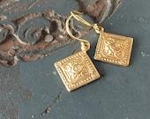 Szolnok Hungarian Diamond Medallion Earrings in Gold