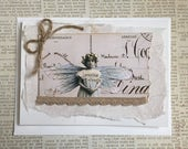 NEW Handmade Card Featuring Vintage Photo Young Girl with Wings