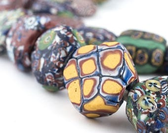 55 Extremely Rare Strand Antique Tabular Venetian Trade Beads Old Glass Beads Vintage Glass Beads Millefiori Glass Beads African Trade Beads