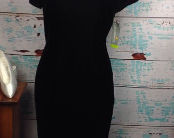 Vtg 90s Liz Claiborne Black Velvet Short Sleeve Full Length Prom Dress 10 M Medium NEW with tags NWT