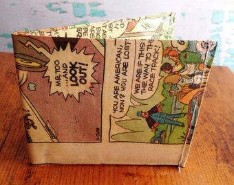 SALE Speed Buggy car racer vintage comic book vinyl wallet.  Handmade from vintage comic books.