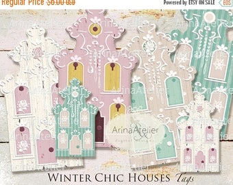 SALE 30% OFF - Winter Chic Houses TAGS - Digital Collage Houses - Home Decors - Collage Houses - Shabby Chic Collage Houses - Nordic Style T