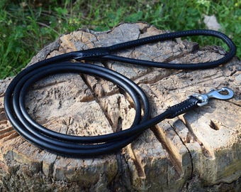 1,5 m Rolled Leather Dog Leash - size L