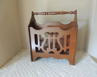 Large Stained Walnut Portable Art Deco Style Magazine Rack. Vintage Dark Wood Lyre Cut Out Magazine Holder. Portable Handled Book Rack.