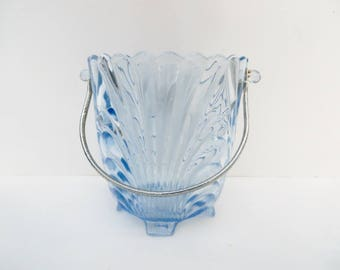 Caprice Blue Ice Bucket with Tongs Elegant Depression Glass