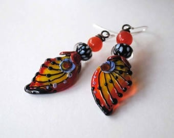 Butterfly Earrings, Colorful Earrings, Lampwork Glass Bead Earrings, Modern Chic Earrings, Yellow Red Earrings, Wing Earrings, Polka Dots