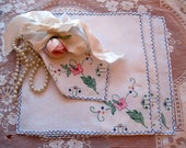 RESERVED - Four Embroidered Linen Tea Napkins, Antique Tea Napkins, Garden Party Napkins, Shabby French, by mailordervintage on etsy