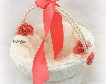 Flower Girl Basket, Ivory, Coral, Burnt Orange, Lace Basket, Vintage Wedding, Gatsby Style, Large Basket, Crystals, Pearl Handle, Pearls