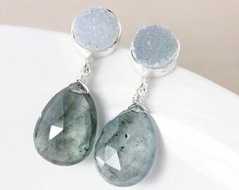 ON SALE 50% OFF Sale - Moss Green Aquamarine Earrings – Grey Druzy
