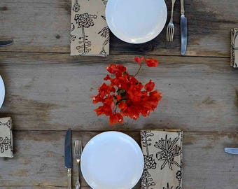 Napkins Cotton table linens bohemian boho tabletop Home and Living home decor block print dining table house warming Set of 4 - CACTUS