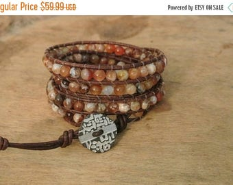 50% OFF SALE Tequila Sunrise Opal  Beaded Leather Wrap Bracelet