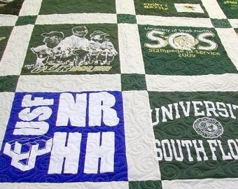 """Reserved for Shannon H. - TShirt Quilt Full Size 82"""" x 87"""" (25-30 T-Shirts) - DEPOSIT LISTING (25%) Payment 3 of 4"""