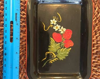Hand painted vintate tole tray .
