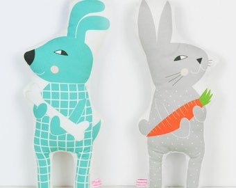 dog and bunny doll turquoise and gray for kids play or nursey decor