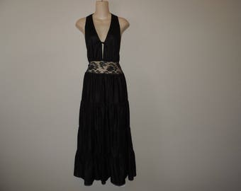 black lace nightgown 70s witchy woman tied bodice long tiered gown nylon nightie small