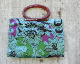 purple psychedelic tote bag 1960s jumbo fold-all mod purse shopper library bag knitting bag