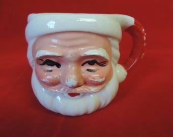 Santa ceramic mug vintage 1950s chippy jolly egg nog coffee cup cocoa mug mixed media planter