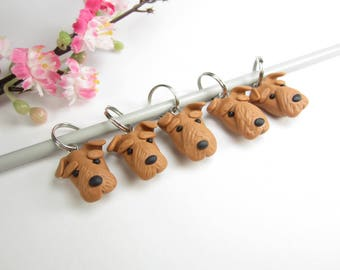 Welsh Terrier dog stitch markers, Welsh terrier gifts charms polymer clay knitting accessories dog charm pet lover gift knit knitters dogs