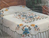 Destash Party Tree of Life Applique Quilt Vintage Stamped for Embroidery 79 x 97 inches
