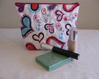 SALE Hearts Quilted Zipper Pouch