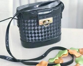 Vintage Black Patent Vinyl/Vegas Box Purse -- Shoulder Bag -- Adorable -- Retro
