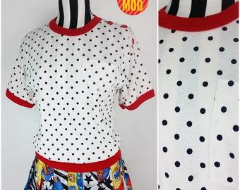 Fun Vintage 80s White, Red & Black Polkadot T-Shirt Top