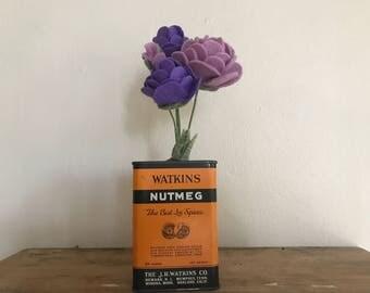Purple and Violet Felt Rose Flower Bouquet // Vintage Orange Watkins Nutmeg Tin // Holiday Housewarming Gift for Her // Kitchen Home Decor