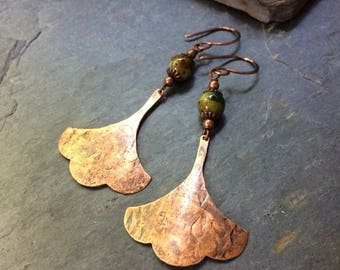Hammered Copper Gingko Leaf Earrings