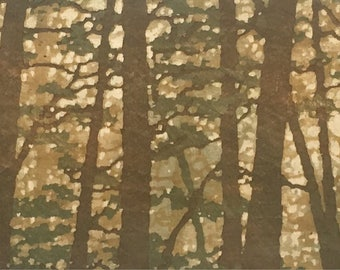 Woodblock Print - Forest No. 15 Moku Hanga Fine Art Print Limited Edition Landscape Reduction Print
