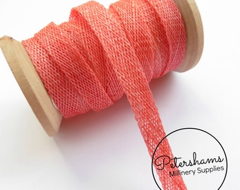 1cm Sinamay Bias Binding Tape Strip (1.6m/1.7yards) for Millinery & Hat Making - Coral
