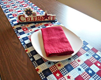 Fourth of July Table Runner Patriotic Americana Western Rustic Stars Stripes Red White Blue Navy Reversible Picnic Buffet