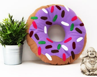 Large Lilac Doughnut Cushion, ring donut pillow, plush donut, plush doughnut, food pillow, Reading Corner, kids room decor, circle pillow