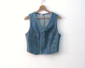 Spring SALE Vintage 70s Wrangler denim vest / orange stitch detail Rustic Country Bohemian jean vest