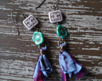 Turuoise and Purple Tassel Earrings - Flower Earrings - Boho Tassels - Rustic Earrings - Bead Soup Jewelry