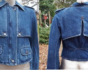 Vintage Denim Jacket, Womens Jacket, 90s Jacket, Blue Jean Jacket, Harvé Benard, Gift for Her, Vintage Jean Jacket, shoulder epaulets, gift