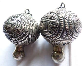 RARE Antique Tribal Miao Globe BALL Silver Earrings, Tribal Earrings, South East Asia Jewelry, Ethnic Earrings
