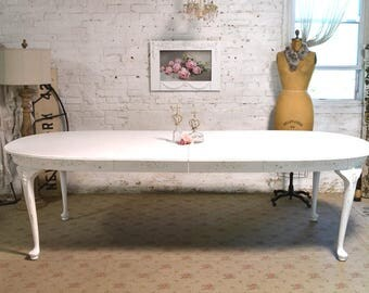 Dining Table Painted Cottage Chic Shabby White French Dining Table TBL212