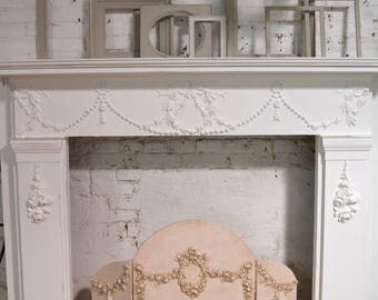 RESERVE MAHRA Painted Cottage Chic Shabby White Fireplace Mantle
