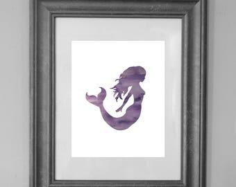 Mermaid Print / Purple Mermaid / Seaside Decor / Girl Bedroom / Princess / Home Decor / Girl Nursery / Kid Art / INSTANT DOWNLOAD