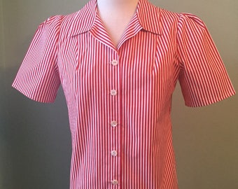 1930s 1940s  candy striped fabric   puffed sleeve blouse   custom made