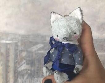 MADE TO ORDER 4 inch Artist Handmade Miniature Pocket Sized Blue Teddy Fox Eric by Sasha Pokrass