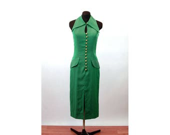 1970s dress midi green iridescent button front shoulder baring key hole Size S/M