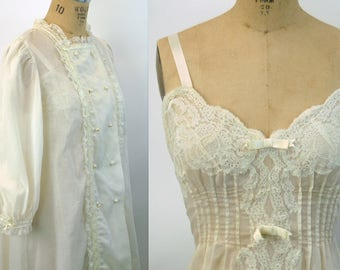 1960s Christian Dior peignoir nightgown and robe cotton blend lace and ribbons ivory wedding bridal Size S/M