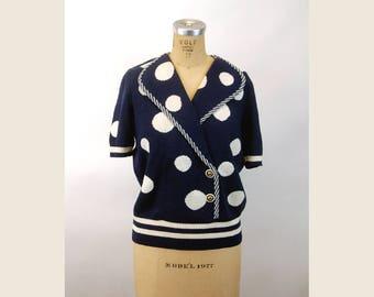 1980s knit top Antonella Preve polka dot navy blue Santana knit sweater Size L