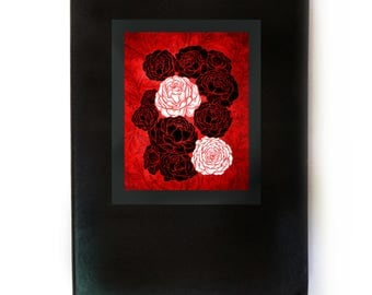Red Peony Flowers, Asian Style Art, Black Leather Writing Notebook, Original Design