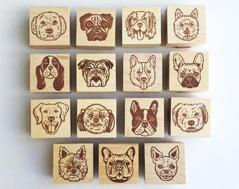 Mounted Dog Rubber Stamps by Sachi - you can choose ONE from 15 designs