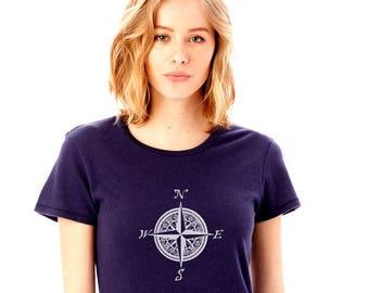 Compass Shirt For Woman, Compass Rose, World Travel, Shirts for Women, Hiking Shirt, Camping tShirt Mountain Shirt, Sailing top, Graphic Tee