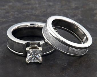 Gibeon Meteorite Ring Matching Meteorite His And Her Rings, Meteorite Rings Wedding Bands