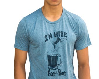 Beer me| Soft lightweight T Shirt| I'm here for the beer| Art by MATLEY| Men's| Unisex| Great gift| Diving| Best seller| Crew and V neck.